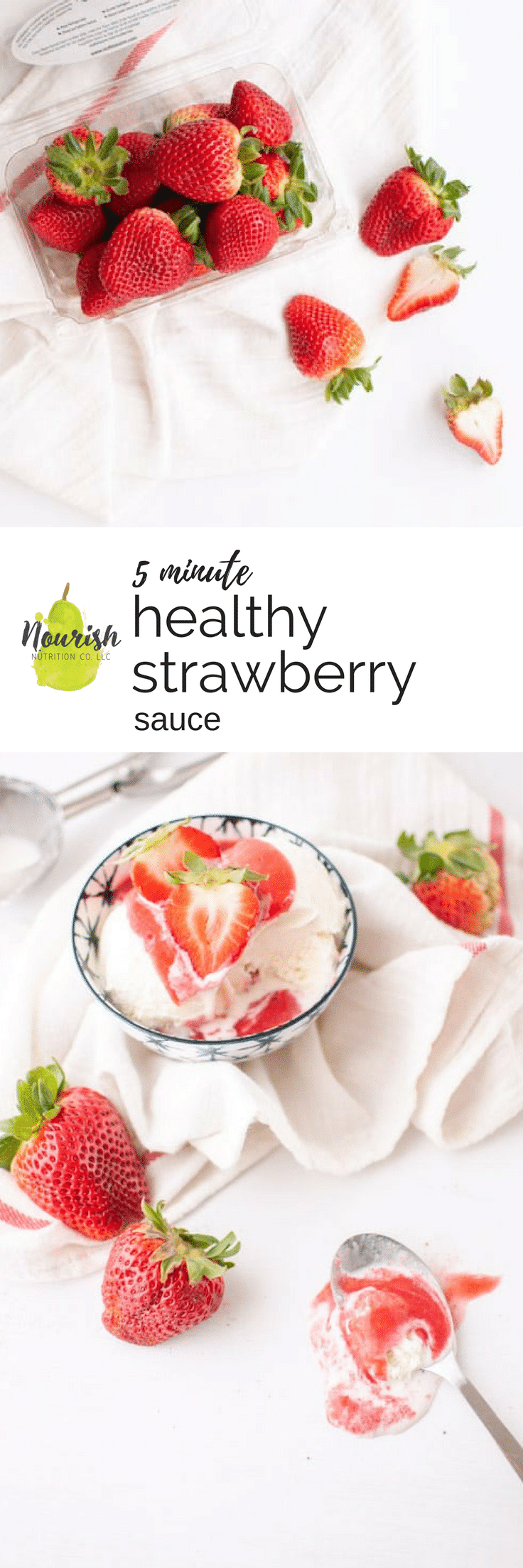 healthy strawberry sauce over ice cream and strawberries with a text overlay