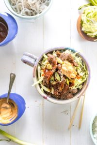 overhead shot of easy Korean beef bulgogi with toppings