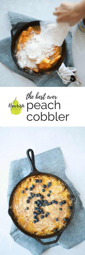 the best peach cobbler in a skillet with text overlay