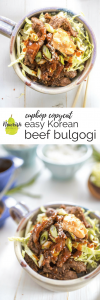 east Korean beef bulgogi in bowl with text overlay