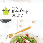 easy strawberry salad on a plate with text overlay