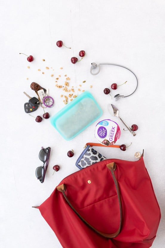 dannon light & fit yogurt to make an easy yogurt bowl, and other items in a purse