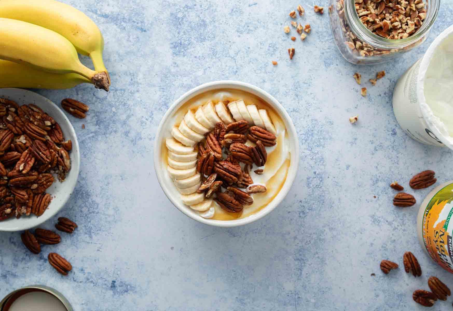 yogurt and strawberries for easy yogurt bowl recipe