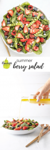 close up of summer berry salad and pouring dressing with text overlay