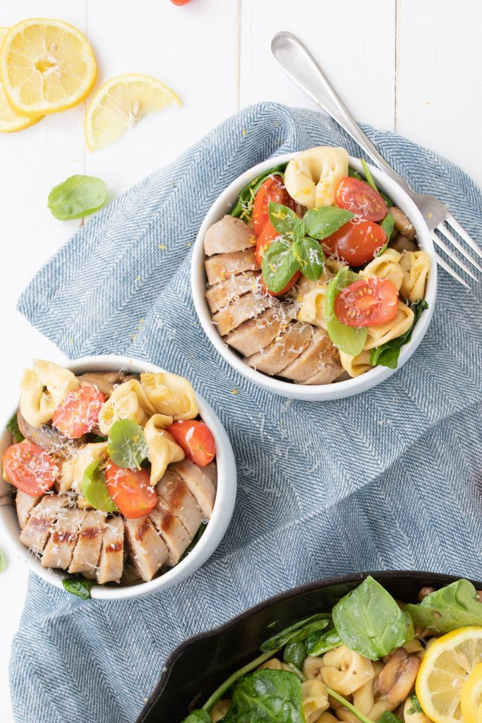two bowls of easy tortellini with sausage