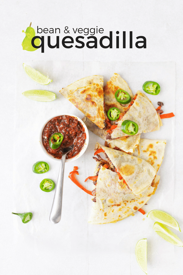 vegetarian quesadilla and salsa on a table with text overlay