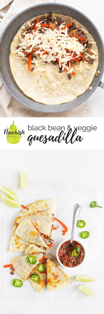 vegetarian quesadilla on table and in a pan with text overlay