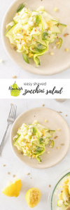 Shaved Zucchini Salad with Corn & Feta on a plate with text overlay