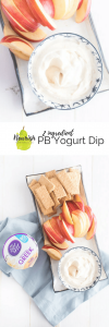 PB Greek yogurt dip with apples and graham crackers on table with text overlay