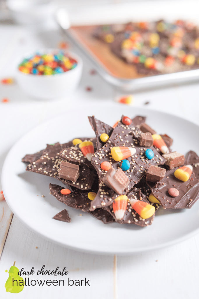 easy dark chocolate Halloween candy bark with quinoa on a table
