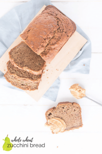 whole grain zucchini bread with peanut butter and text overlay