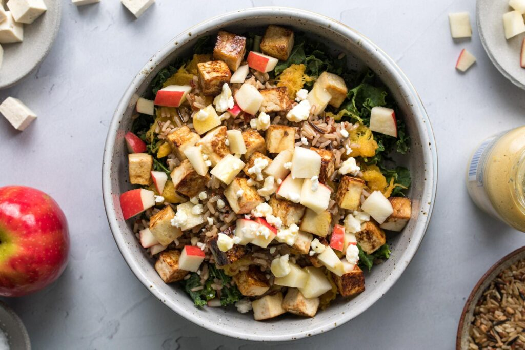 warm harvest bowl with apples and maple glazed butternut squash ingredients