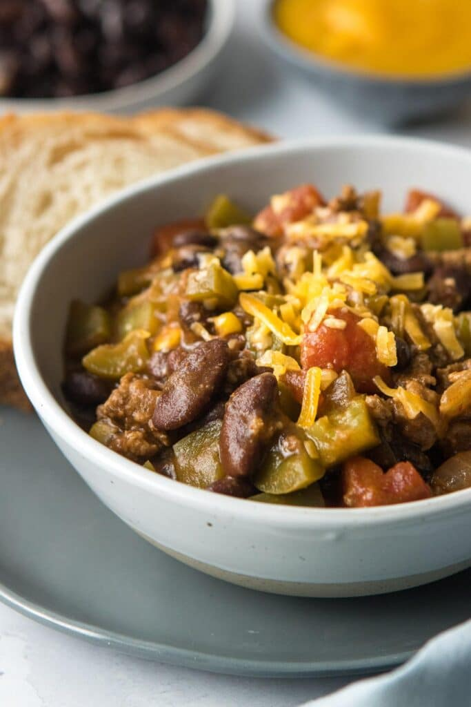 close up of 30 minute pumpkin chili with ground turkey