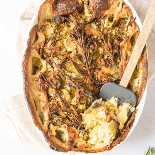 rustic potato and brussels sprouts au gratin in pan