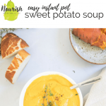 instant pot sweet potato soup on a table with text overlay