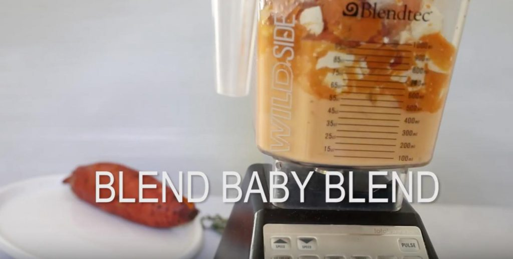 sweet potato soup blending in blender