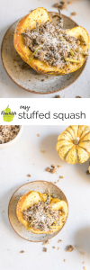 easy stuffed squash with beef and rice on a plate with text overlay