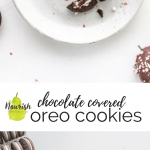 Chocolate covered oreo cookies with peppermint on a table, with ingredients and text overlay