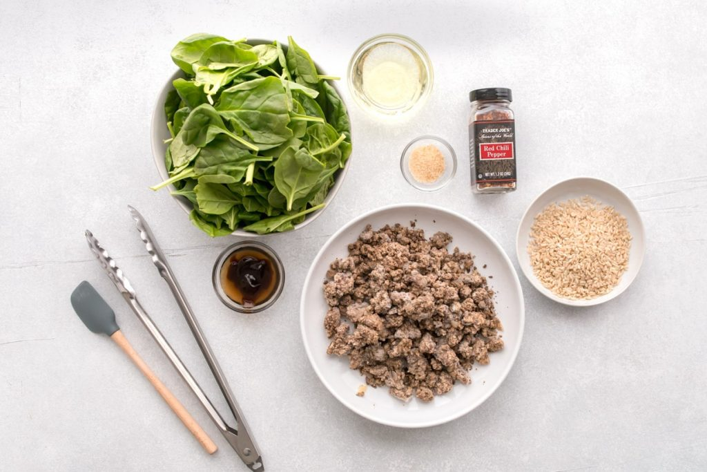 ingredients for a Thai beef bowl
