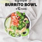 vegetarian burrito bowl with salsa and jalapenos on top with text overlay