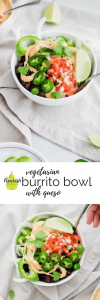 vegetarian burrito bowl recipe with queso on a table with text overlay