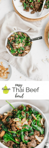 Thai Beef Bowl with ingredients on a table with text overlay
