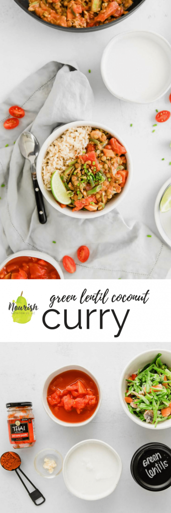 coconut green lentil curry on a table with ingredients and a text overlay