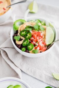 vegetarian burrito bowl recipe in a bowl