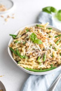 pasta with mushroom sauce on a table