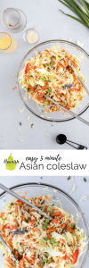 Asian coleslaw on a table with text overlay