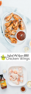 Instant Pot Asian BBQ Chicken Wings Recipe on a table with text overlay