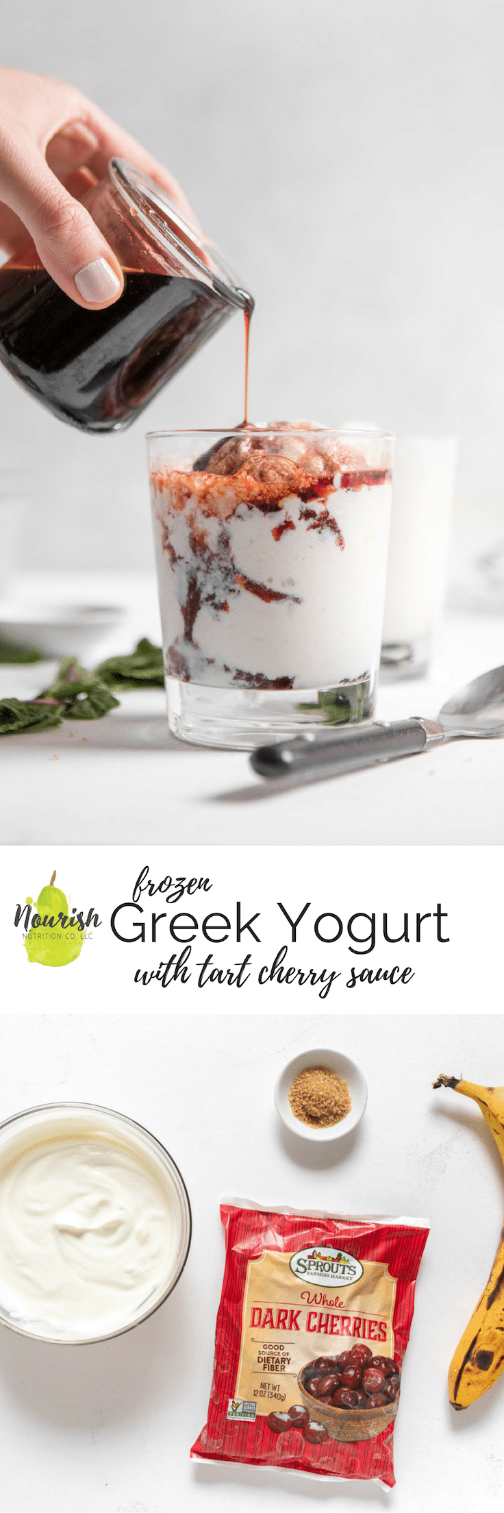 frozen greek yogurt with tart cherry sauce in a cup and ingredients with text overlay