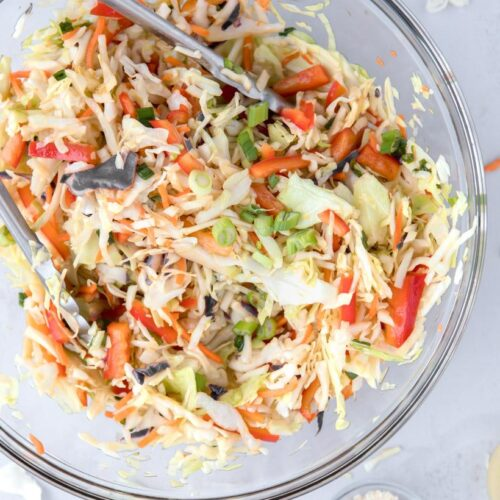 Asian coleslaw in a glass bowl
