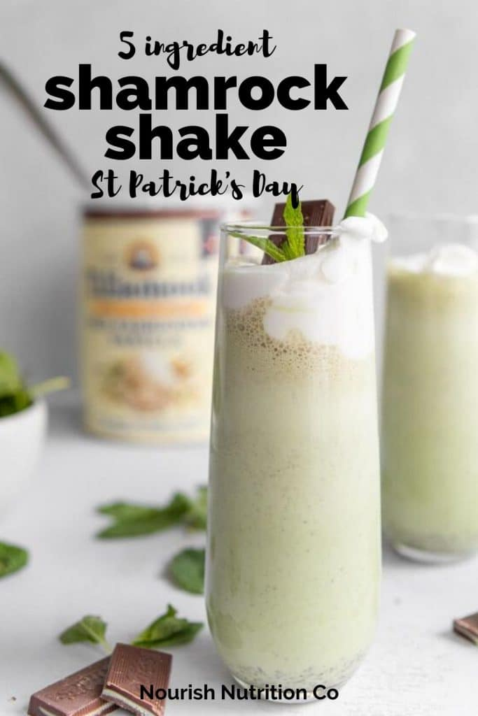 homemade shamrock shake with ingredients in the background and a text overlay