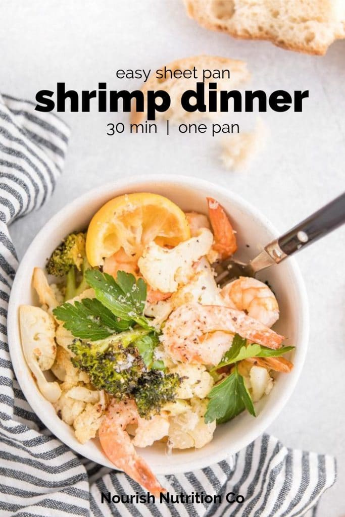 sheet pan shrimp bowl in a bowl with text overlay