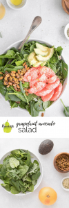grapefruit and avocado salad on a table with ingredients and a text overlay
