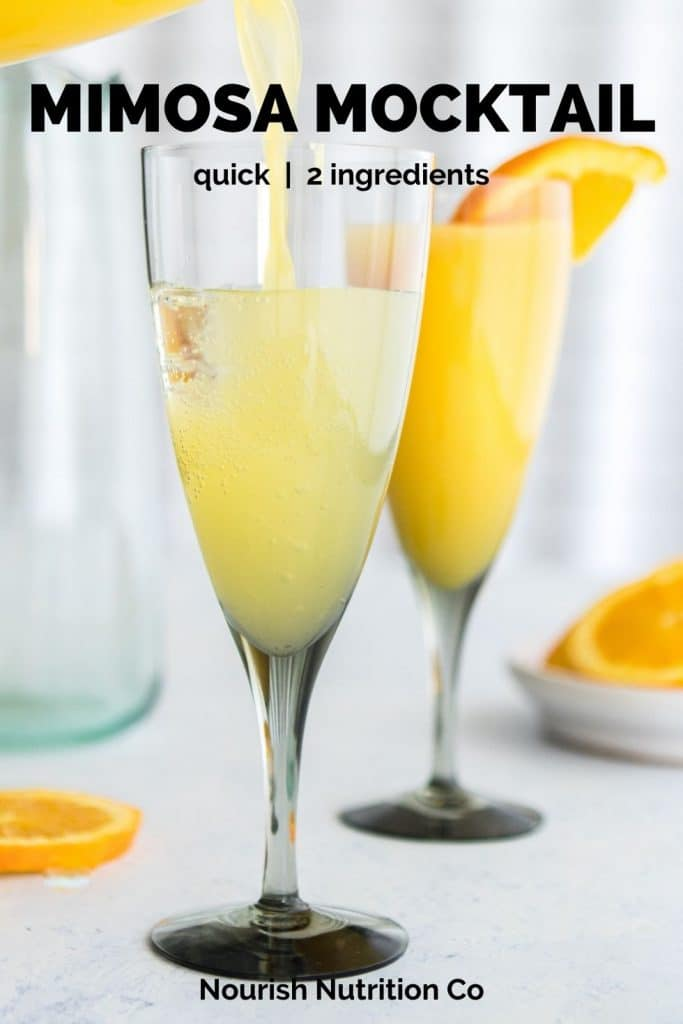 pouring orange juice into a champagne flute with text overlay