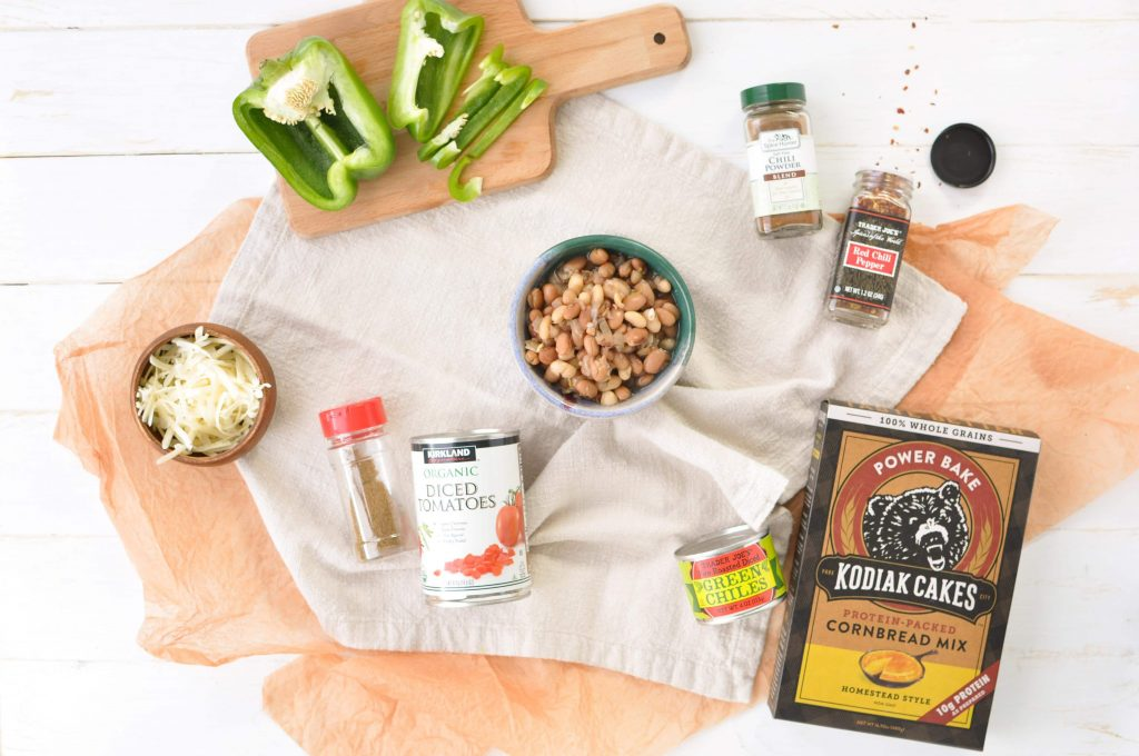 ingredients for 15 minute easy vegetarian chili on a table