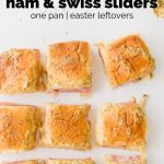 ham and swiss sliders on table with text overlay