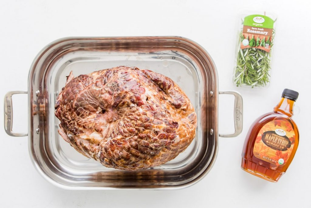 ham, rosemary, and maple syrup for maple glazed ham recipe