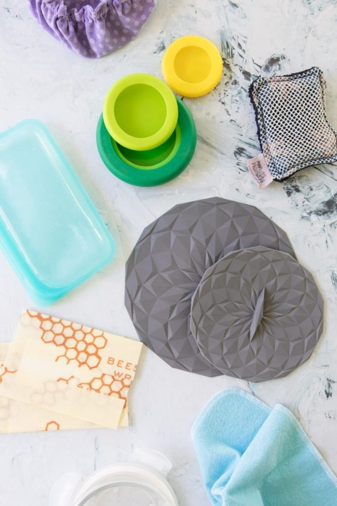 sustainable household items on a table to show ways to reduce waste