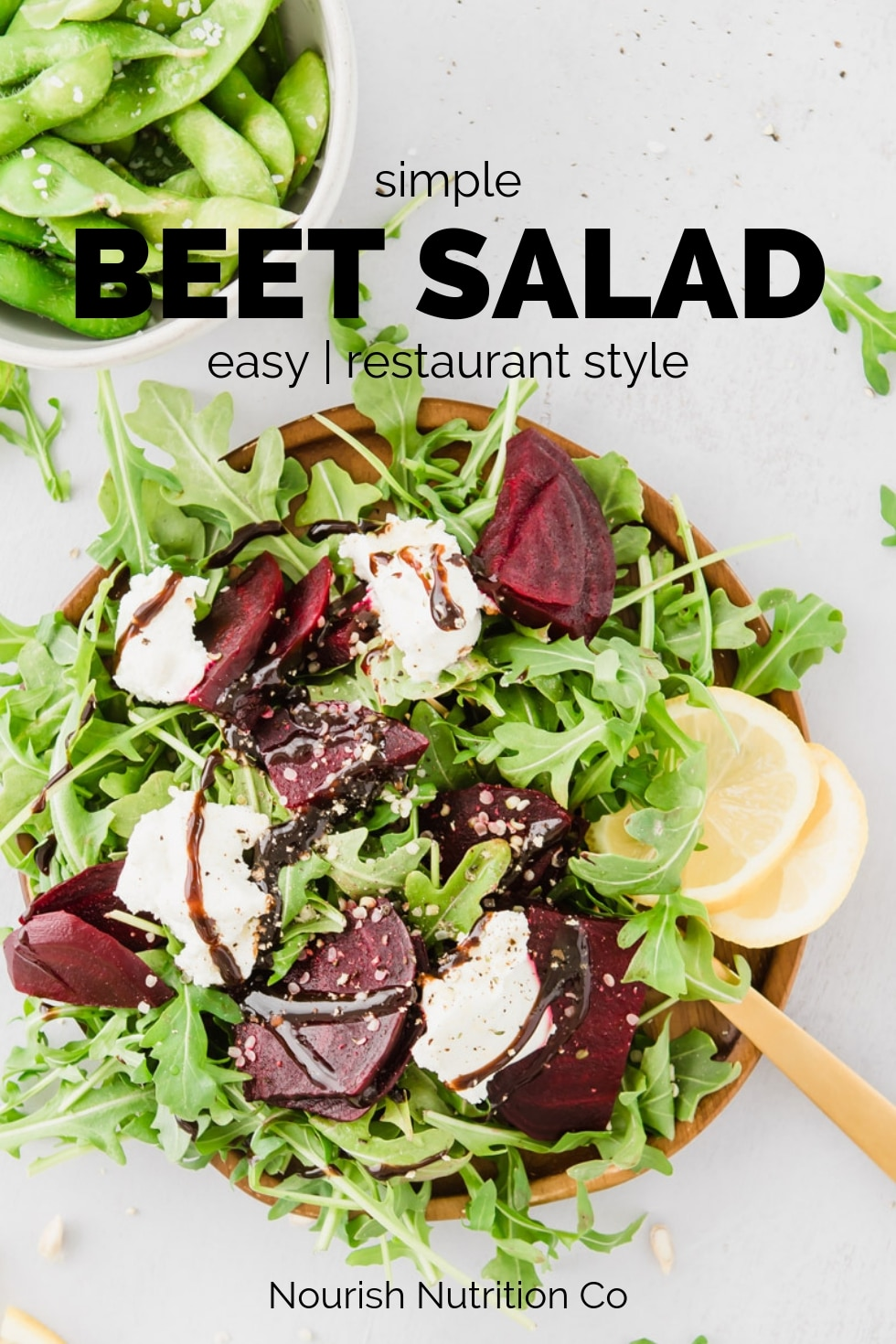 beet and arugula salad with text overlay