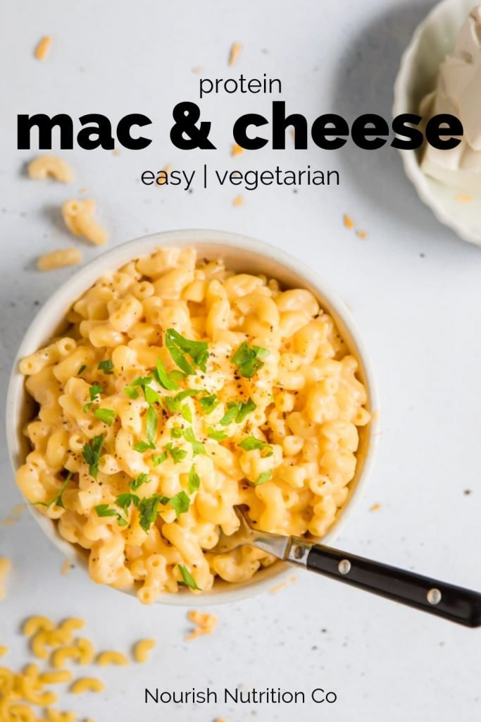 bowl of protein mac and cheese with text overlay