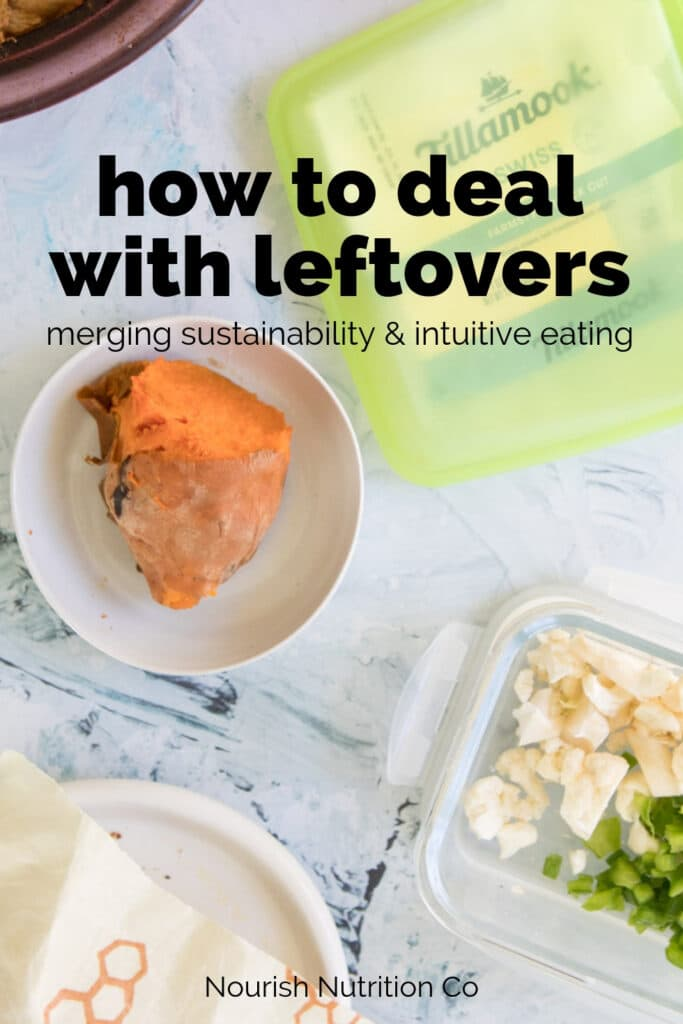 leftovers on a table to highlight ways of dealing with leftovers with text overlay