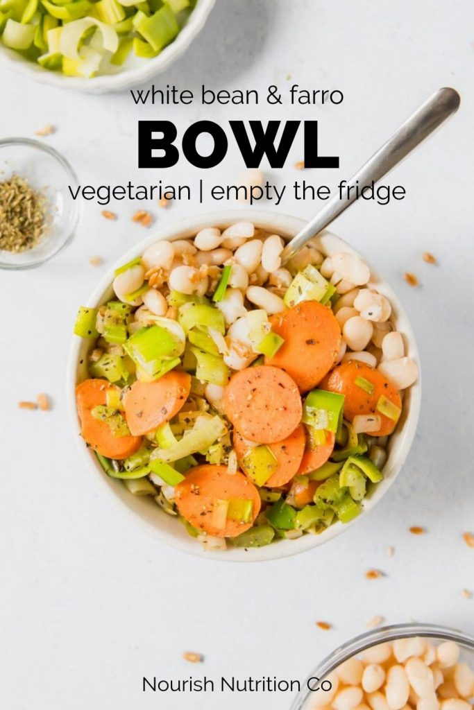 white bean and farro bowl on table with text overlay