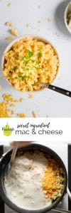 protein mac and cheese in a white bowl with text overlay