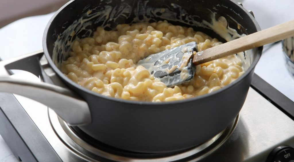 protein mac and cheese in cooking pot