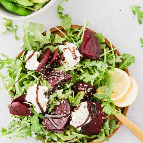 beet and arugula salad on a plate
