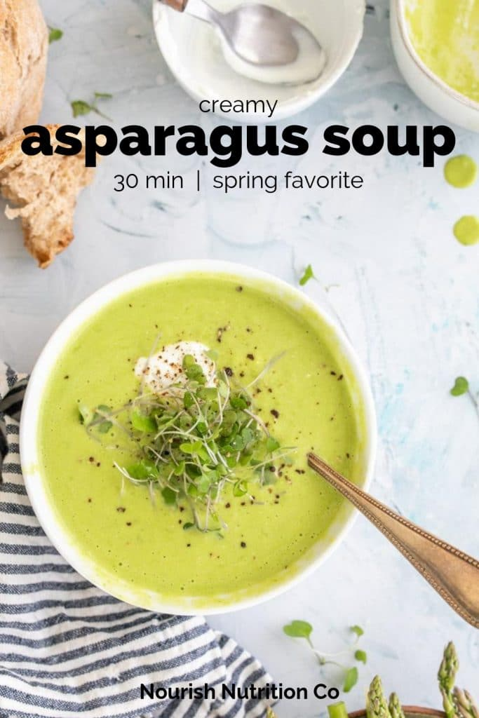creamy asparagus soup in a bowl with text overlay