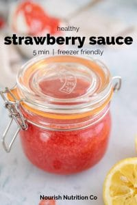 healthy strawberry sauce in a jar with text overlay